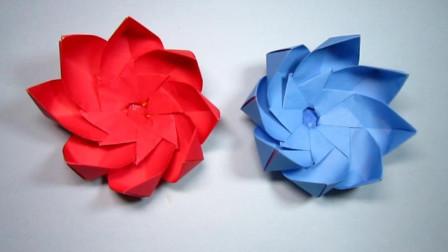 手工折纸, 简单莲花的折法, 小小的几张纸就能组合成漂亮的花朵