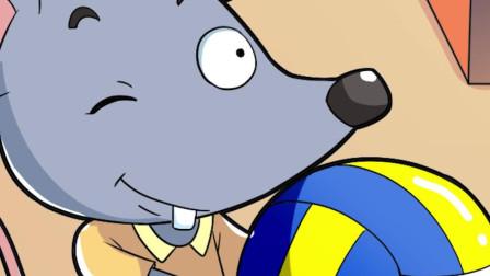 小老鼠太可爱了, 抱着排球就往窝里钻