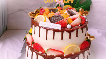 看一遍就会做的双层生日蛋糕, 水果多层夹心蛋糕