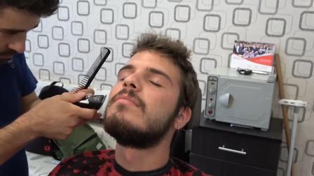 专业的胡子修剪, 手法一流, 第一次见到