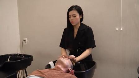 帅小伙去越南理发店, 享受面部护理服务, 太舒服了