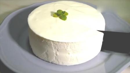 国外达人制作的酸奶奶油蛋糕, 挖一勺入口, 感觉好满足