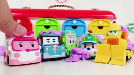 珀利汽车玩具车库大集合 汽车小镇欢乐多