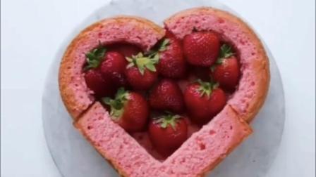 解锁粉红爱心奶油蛋糕, 里面满满的都是新鲜草莓呀!