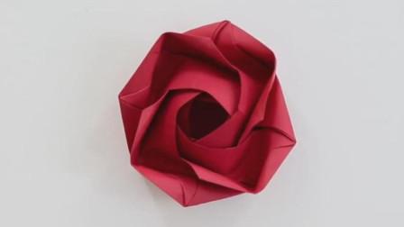 折纸教程: 玫瑰花, 非常漂亮的折纸玫瑰花, DIY手工!