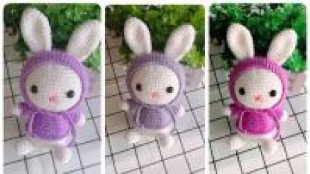 【云娘手作】毛线编织 罩帽兔子玩偶  视频教程(第79集)