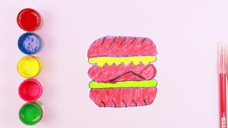 如何画汉堡包 儿童绘画 七巧板 填色 儿童简笔画