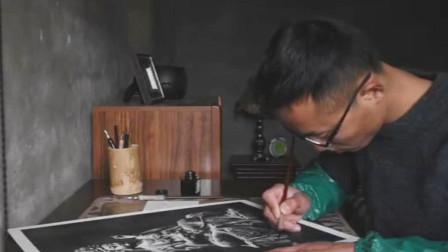 90后山西农村小伙用钢笔作画