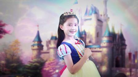可爱小女孩实现变身白雪公主的梦想, 精彩出演学校童话剧
