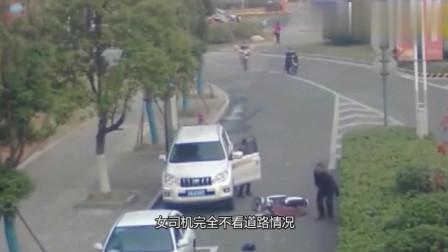 女司机又惹祸了, 监控拍下惊险一幕