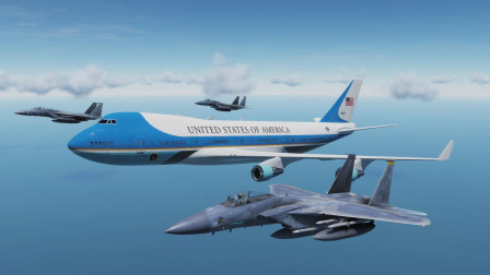 """美国""""空军一号""""访问岛国! 遭遇俄罗斯SU57战斗机偷袭! 战争模拟"""