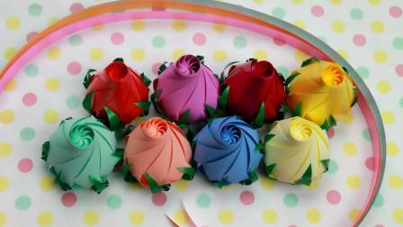 彩带编织系列, 玫瑰花蕾的制作方法, 手工难度2颗星!