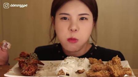韩国吃播当顺妹, 吃3种口味炸鸡, 网友喜欢哪一个