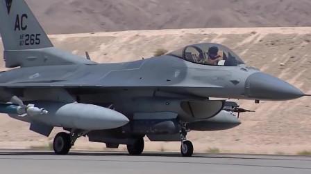 F-16战斗机在内利斯空军基地着陆