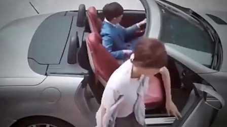 灰姑娘第一次坐豪车不懂开车门 豪门少爷好帅气!