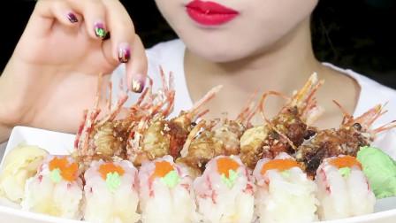 美女吃甜虾寿司, 美食给人小清新的感觉, 网友: 咀嚼声更是美妙!