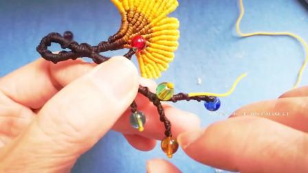 中国结绳艺编织原创设计~银杏叶与彩果