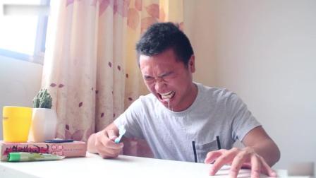 小伙作死挑战用芥末刷牙, 辣的嗷嗷叫, 笑死我了