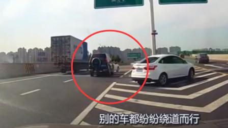 女司机匝道口任性倒车, 路虎追尾也不敢打方向, 这一怼真爽!