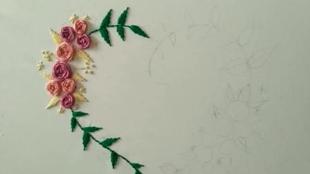 手工刺绣: 达人展示基础针法, 用这个针法绣出来的花儿真美啊
