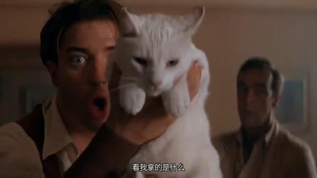 原来木乃伊也怕猫,看到男子带来的小猫,木乃伊却变成沙子逃跑