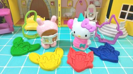 凯蒂猫的下午茶黏土模具手工,猫和老鼠的卡通饼干,太有趣啦