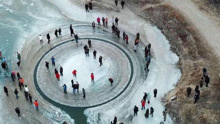 美国境内出现神秘旋转冰盘, 人们猜测是外星人所为