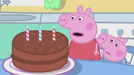 佩奇和乔治正在小心翼翼的在巧克力蛋糕上插蜡烛