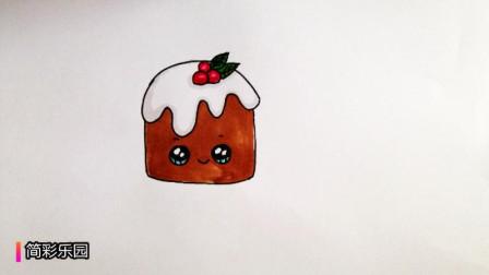 幼儿早教绘画  简单几笔就能轻松画出一块巧克力蛋糕简笔画  宝宝轻松学画画