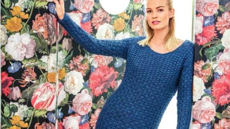 立体很有层次的实地花样,织连衣裙真漂亮编织方法教程