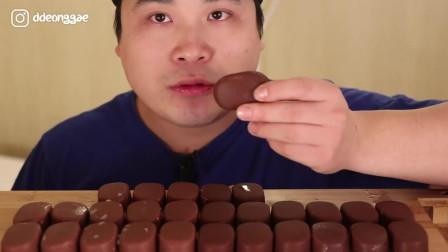 韩国大胃王胖哥, 吃奶油巧克力冰糕, 一口一个真厉害