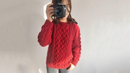 毛儿手作-朱一龙同款毛衣棒针毛衣新手视频教程手工编织款式
