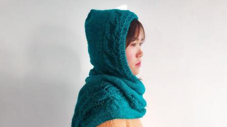 毛儿手作-叶子花连帽围巾棒针围巾新手视频教程上创意编织