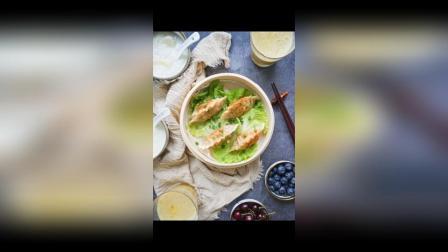 打卡 白菜猪肉煎饺(王饺子), 美龄粥, 百香果香蕉甜橙汁