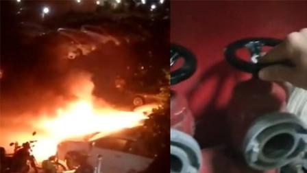 江门一小区发生火灾浓烟滚滚 主通道受阻消防车进不去
