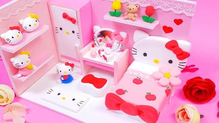 手工达人diy自制做Hello Kitty房间,粉红的颜色,满满的少女心