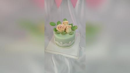 永不凋谢的翻糖花蛋糕