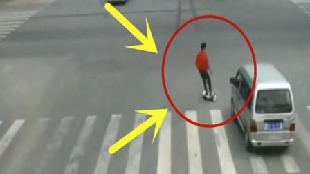 男子玩平衡车横穿马路,几秒后可真是付出了惨痛的代价