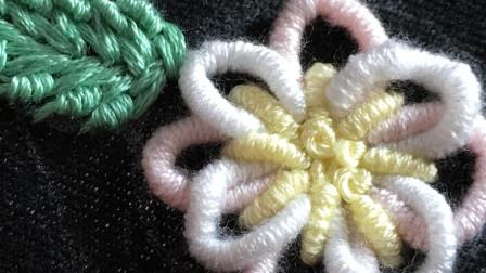 手工刺绣教程,教你用常见的卷针绣不一样的花朵