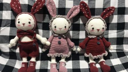 毛儿手作-情侣兔子身体裙子以及缝合视频编织法视频