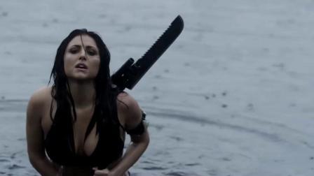 美女在鲨卷风中扔炸弹,无数巨鲨成了烤鲨,实在是太刺激了