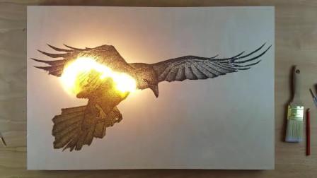 用火药画出一只老鹰,点燃的那一刻才是震撼的开始!