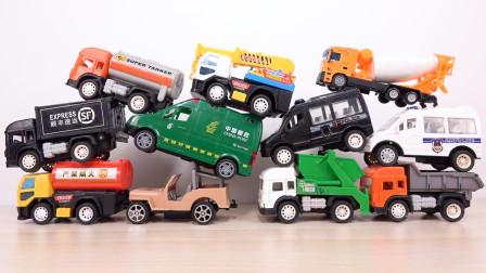 挖掘机救护车垃圾车油罐车搅拌车工程车模型