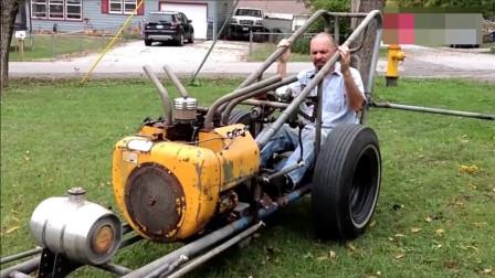 国外牛人大叔用废旧发动机自制机车,技术不一