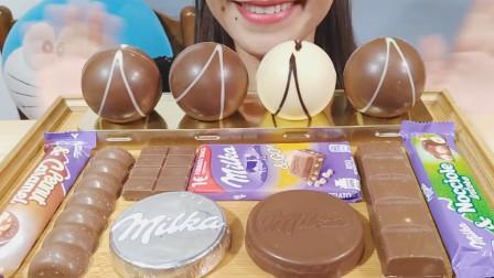 女子吃妙卡巧克力大餐,一口接一口吃得真香,网友:忍不住流口水!