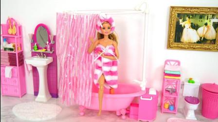 芭比娃娃粉丝淋浴还能自动出水,最后换上美美哒的裙子,迷你短剧