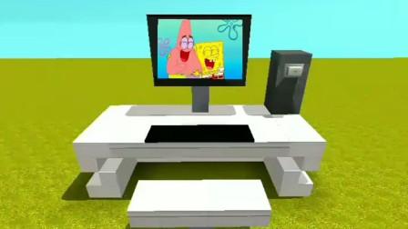 迷你世界:制作台式电脑教程,还能播放海绵宝宝观看