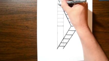 厉害了,牛人把楼梯画的活灵活现,3D立体效果太