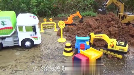 挖掘机挖土 施工现场禁止停车 工程车大全