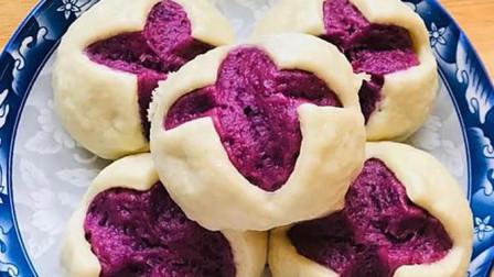 好吃的紫薯开花馒头,香甜松软,做法简单,比普通馒头有营养